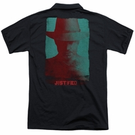 Justified Polo Raylan Givens Silhouette Black Back Print Golf Shirt