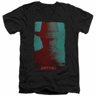 Justified Slim Fit V-Neck Shirt Raylan Givens Silhouette Black T-Shirt