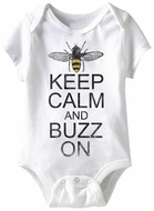 Keep Calm And Buzz On Funny Baby Romper White Infant Babies Creeper
