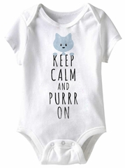 Keep Calm And Purr On Funny Baby Romper White Infant Babies Creeper