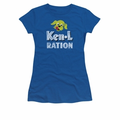 Ken L Ration Shirt Juniors Distressed Logo Royal Blue T-Shirt