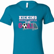 Kicking Breast Cancer is Our Goal Ladies Breast Cancer Awareness Shirts