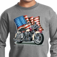 Kids Biker Shirt Motorcycle Flag Sleeve Tee T-Shirt