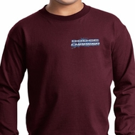 Kids Blue Dodge Charger Pocket Print Long Sleeve Shirt