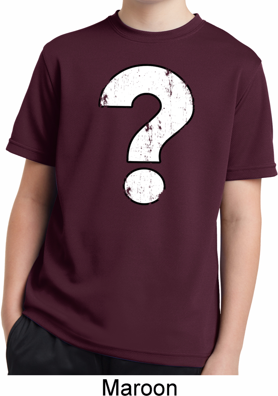 Kids distressed question moisture wicking shirt for Moisture wicking dress shirts
