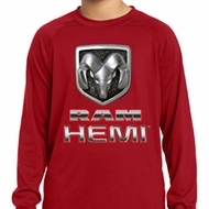Kids Dodge Shirt Ram Hemi Logo Dry Wicking Long Sleeve Tee T-Shirt