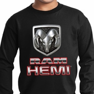 Kids Dodge Shirt Ram Hemi Logo Long Sleeve Tee T-Shirt