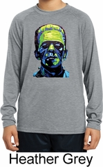 Kids Frankenstein Face Moisture Wicking Long Sleeve Shirt