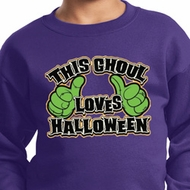 Kids Halloween Sweatshirt This Ghoul Loves Halloween Sweat Shirt