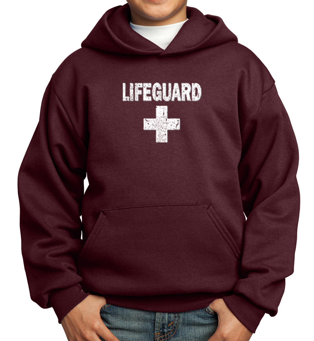 Kids Hoodie Distressed Lifeguard Hoody - Distressed Lifeguard Kids Shirts