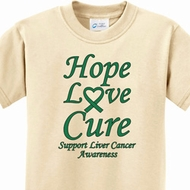 Kids Liver Cancer Hope Love Cure Youth T-shirt