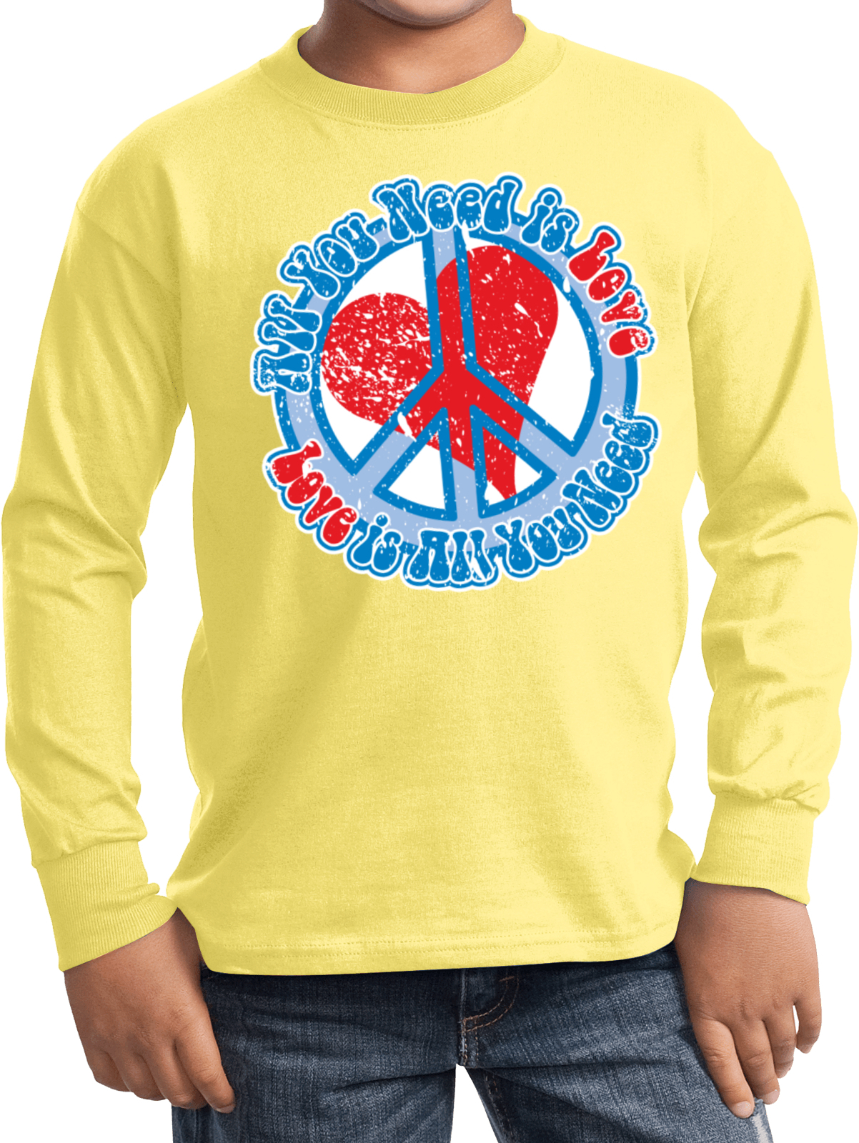 Kids peace shirt all you need is love long sleeve tee t for I love you t shirts