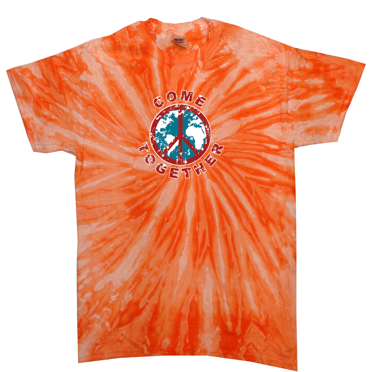 Kids peace tie dye shirt come together orange twist youth for Tie dye t shirt printing