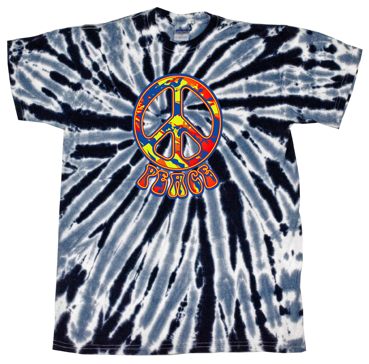 Kids Peace Tie Dye Shirt Funky Peace Black Twist Youth Tie Dye