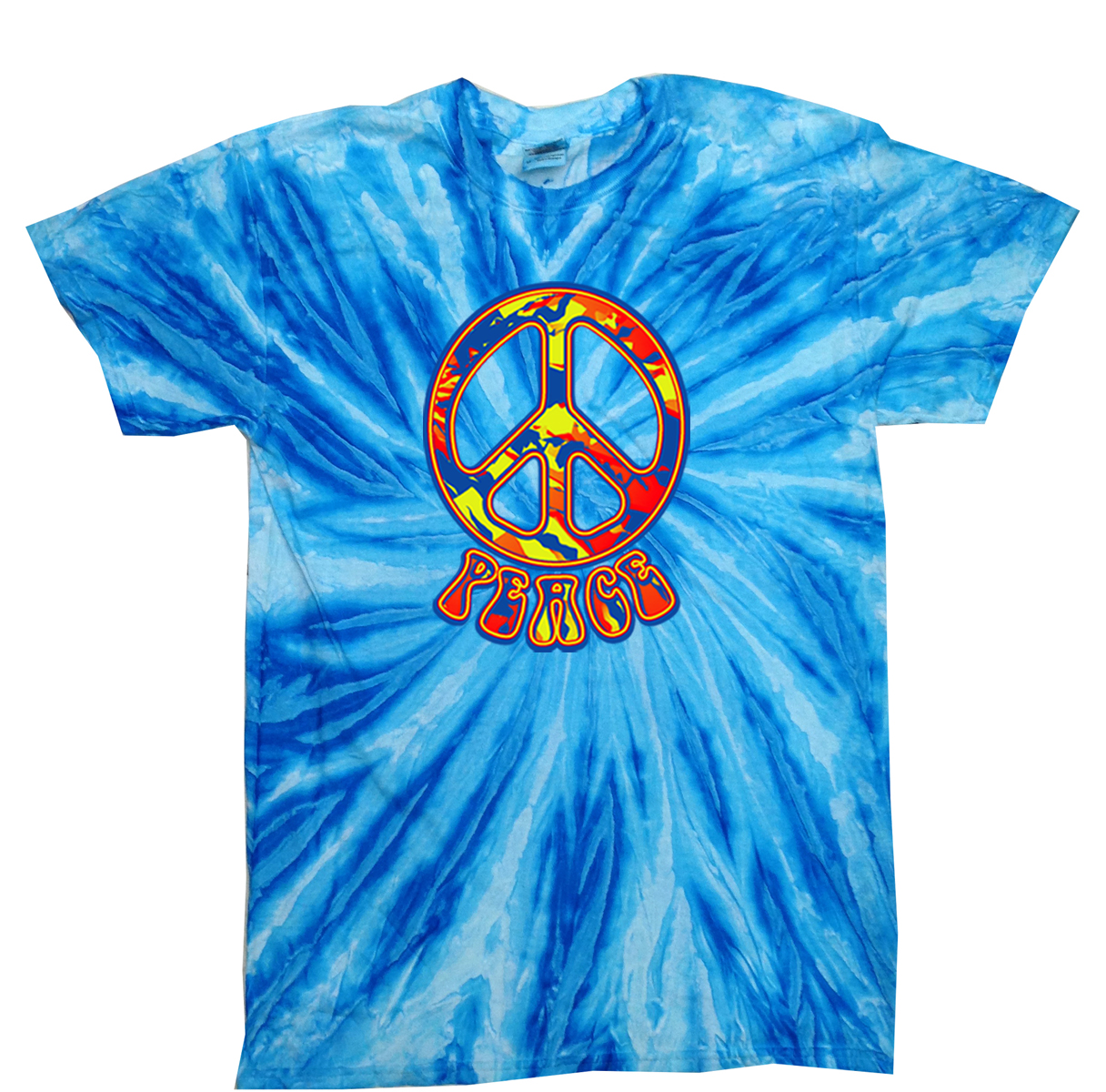 Kids peace tie dye shirt funky peace blueberry twist youth for Tie dye printed shirts
