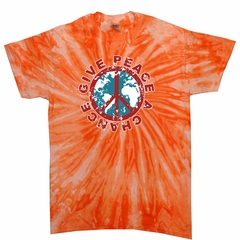 Kids Peace Tie Dye Shirt Give Peace A Chance Orange Twist Tee