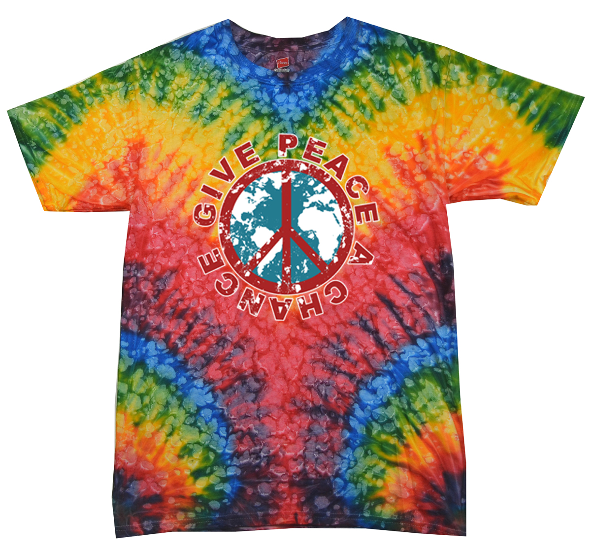Kids peace tie dye shirt give peace a chance woodstock for Tie dye printed shirts