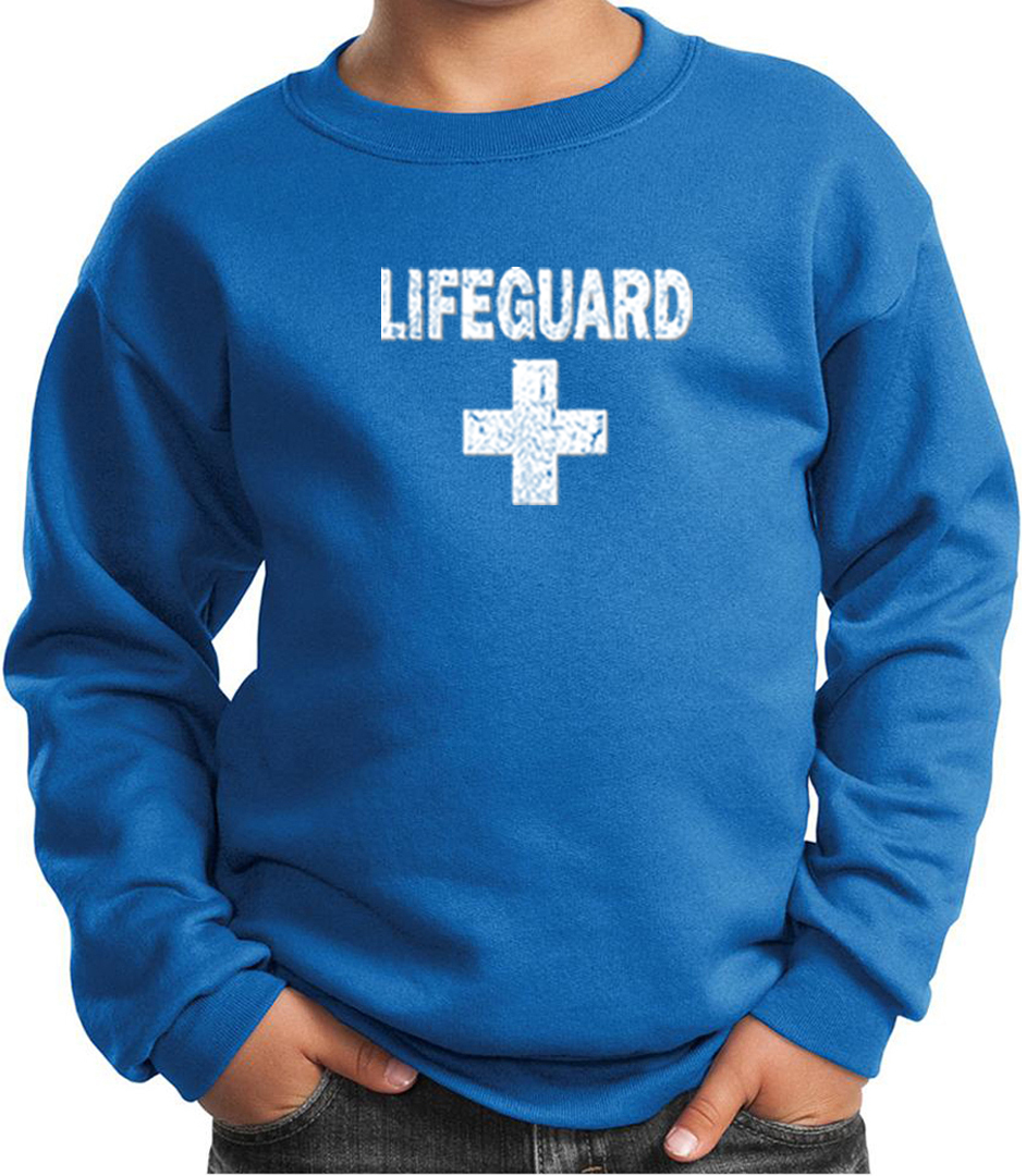 Kids Sweatshirt Distressed Lifeguard Sweat Shirt - Distressed Lifeguard Kids Shirts