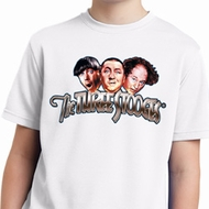 Kids Three Stooges Shirt Stooges Faces White Moisture Wicking T-Shirt