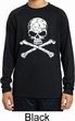 Kids White Distressed Skull Dry Wicking Long Sleeve Shirt