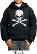 Kids White Distressed Skull Hoodie