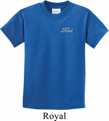 Kids White Ford Pocket Print Shirt