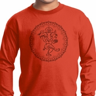 Kids Yoga Circle Ganesha Black Print Youth Long Sleeve