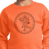 Kids Yoga Circle Ganesha Black Print Youth Sweatshirt