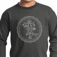 Kids Yoga Circle Ganesha White Print Youth Long Sleeve