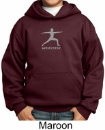 Kids Yoga Hoodie Sweatshirt Warrior 2 Pose Meditation Youth Hoody