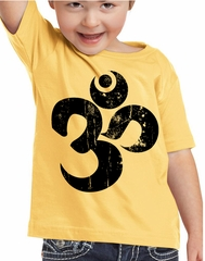 Kids Yoga Shirt Black Distressed OM Toddler Tee T-Shirt