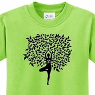 Kids Yoga Shirt Black Tree Pose Tee T-Shirt