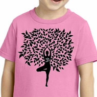 Kids Yoga Shirt Black Tree Pose Toddler Tee T-Shirt