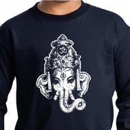 Kids Yoga Shirt Ganesha Head Long Sleeve Tee T-Shirt