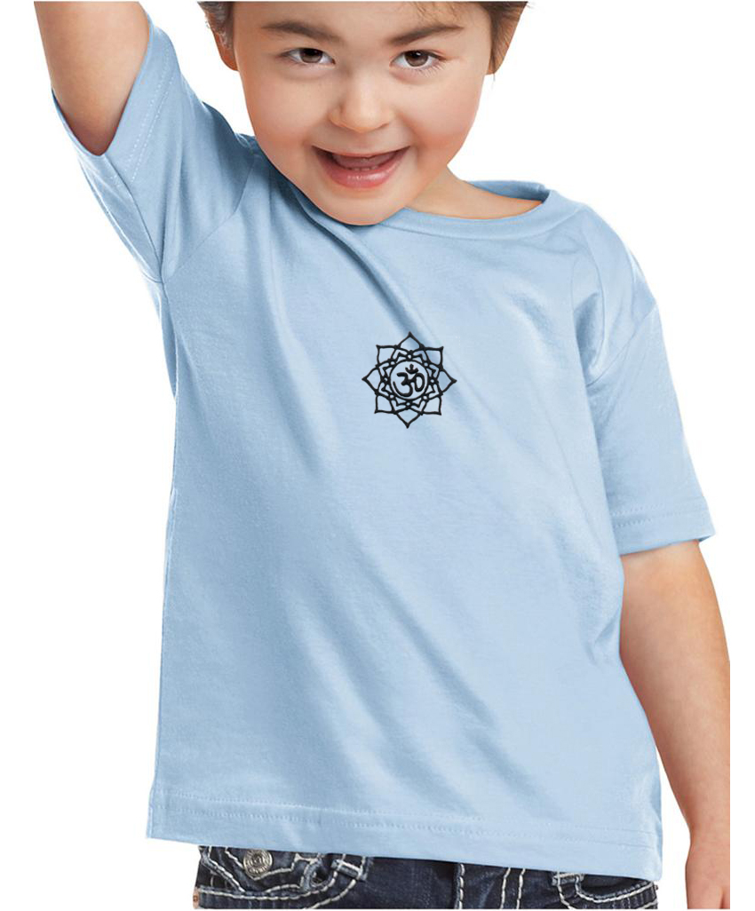 Kids Yoga Shirt Black Lotus Om Patch Small Print Toddler