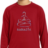 Kids Yoga Shirt Namaste Lotus Pose Dry Wicking Long Sleeve Tee T-Shirt