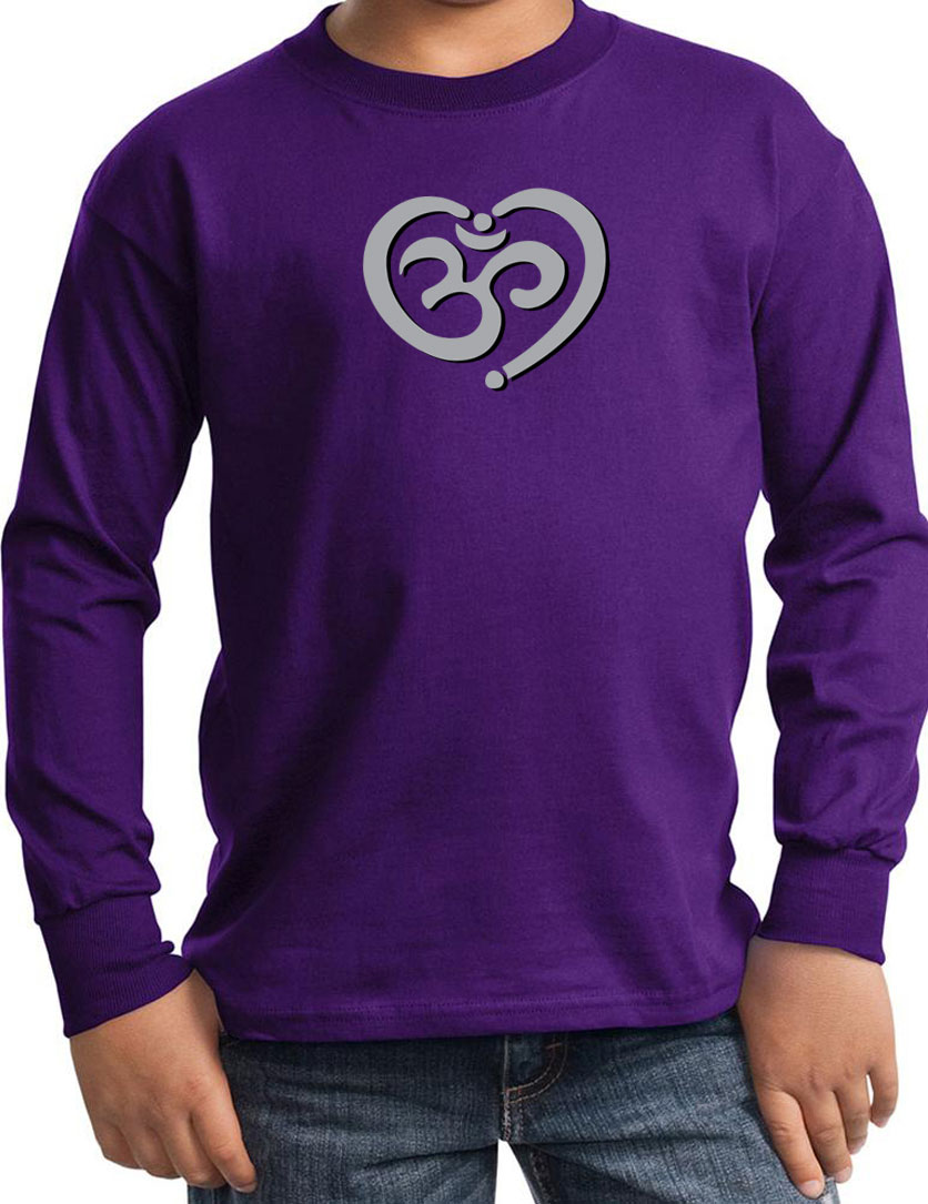 Kids yoga shirt om heart long sleeve tee t shirt om Yoga shirts with sleeves