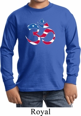 Kids Yoga Shirt Patriotic Om Long Sleeve Tee T-Shirt