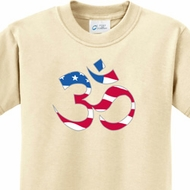 Kids Yoga Shirt Patriotic Om Tee T-Shirt