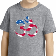 Kids Yoga Shirt Patriotic Om Toddler Tee T-Shirt