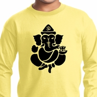 Kids Yoga Shirt Shadow Ganesha Long Sleeve Tee T-Shirt