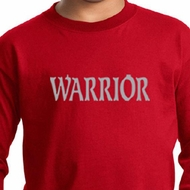 Kids Yoga Shirt Warrior Text Long Sleeve Tee T-Shirt