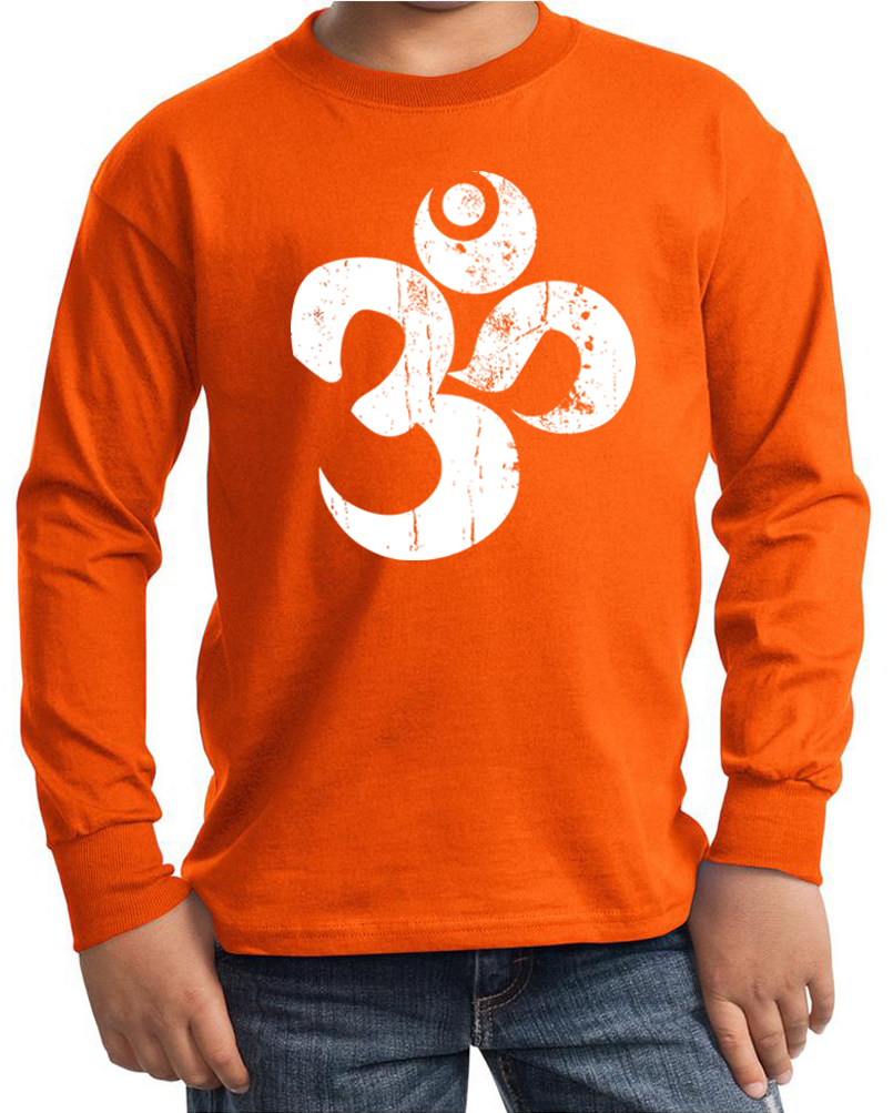 Kids yoga shirt white distressed om long sleeve tee t for How to make a distressed shirt