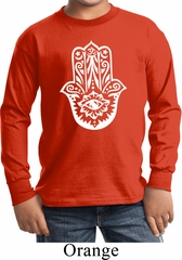 Kids Yoga Shirt White Hamsa Long Sleeve Tee T-Shirt