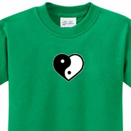Kids Yoga Shirt Yin Yang Heart Small Print Tee T-Shirt