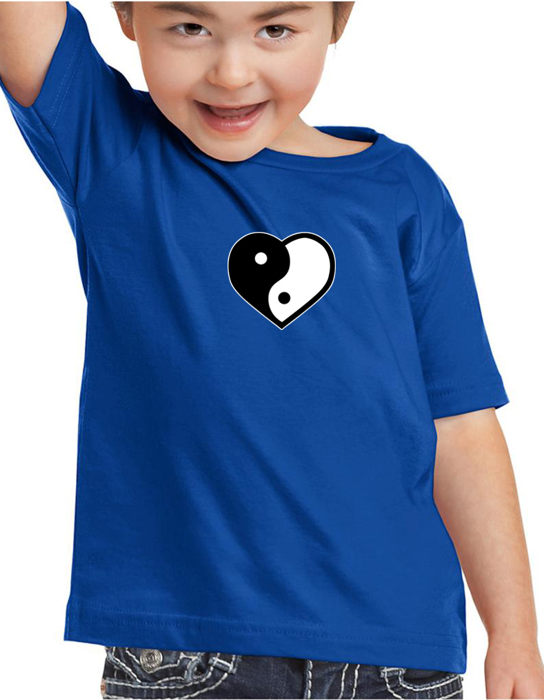Kids Yoga Shirt Yin Yang Heart Small Print Toddler Tee T