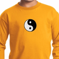 Kids Yoga Shirt Yin Yang Patch Small Print Long Sleeve Tee T-Shirt