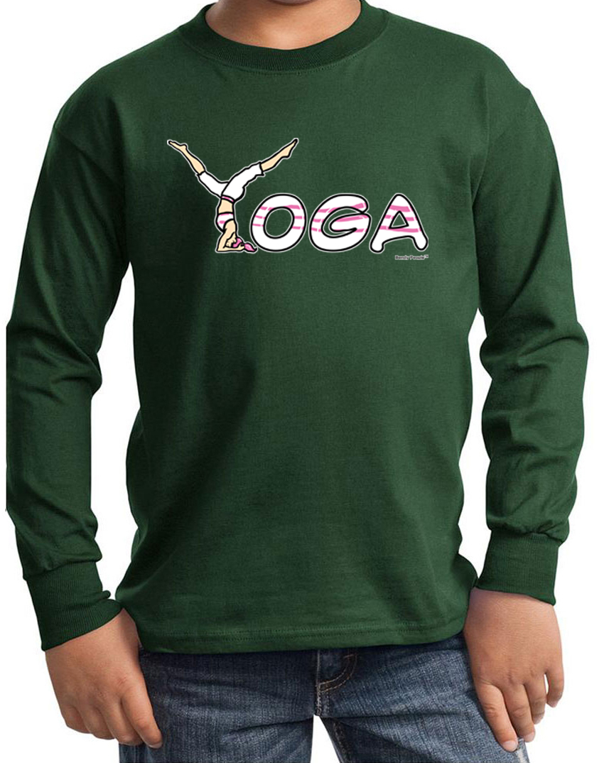 Kids yoga shirt yoga spelling long sleeve tee t shirt Yoga shirts with sleeves