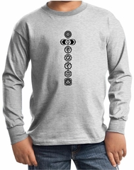 Kids Yoga T-shirt 7 Chakras Black Print Youth Long Sleeve Shirt