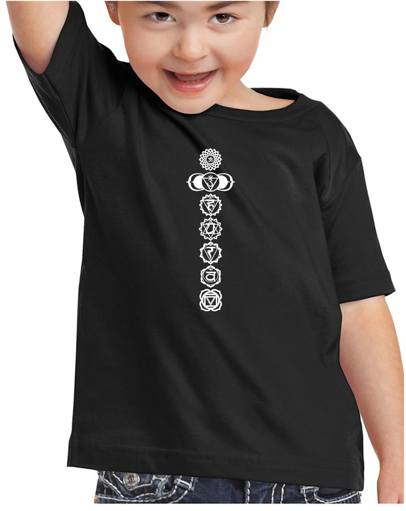 Kids Yoga T Shirt 7 Chakras White Print Toddler Tee 7